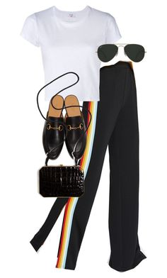 """""""Untitled #11339"""" by nikka-phillips ❤ liked on Polyvore featuring RE/DONE, Gucci, Ray-Ban and Fendi"""