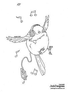 Singing Birdie - Lineart by JadeDragonne on DeviantArt Coloring Sheets, Adult Coloring, Coloring Pages, Jade Dragon, Digi Stamps, Art Drawings, Cute Animals, Singing, Artist