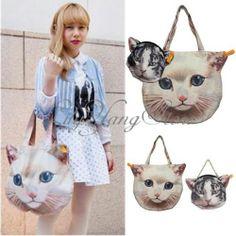 Women Lady Cat Head Face Tote Shoulder Handbag Purse 2 in 1 Set Japanese Style | eBay