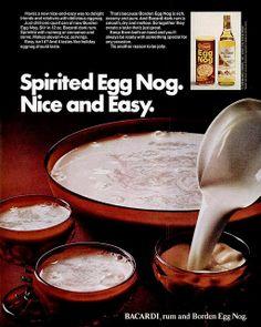 1972 Christmas Party Liquor Ad, Bacardi Rum & Borden Egg Nog Recipe