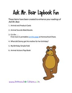 Ask Mr. Bear Lapbook and Printables