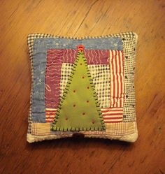Primitive Folk Art Fabric Art Christmas Tree Quilt Pillow Handstitched