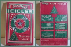 Vintage, in original box, Doubl-Glo Icicles for decorating Christmas Trees. The back of the box gives suggestions on how to decorate with the icicles.