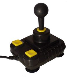 Super Pro Zip Stick :-: A favorite joystick with Amiga owners...specifically in the UK, this was a fairly standard controller with a good solid base and very solid arcade style stick. Very similar in profile to the Competition Pro, the greatest difference and more identifiable feature of this device were the square yellow fire buttons...somewhat a fashion faupax in the joystick stakes...but no less functional.