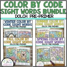 Color By Code Sight Words Dolch Pre-Primer Seasons Bundle - Primary Playground