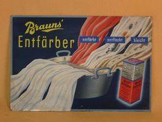 "alter Reklameaufsteller ""Brauns` Entfärber"" 1930er, Werbeschild, Reklame • EUR…"