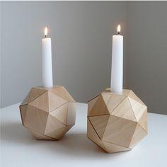 Polyhedron Candlesticks, Maple Wood Veneer Origami, Set of 2
