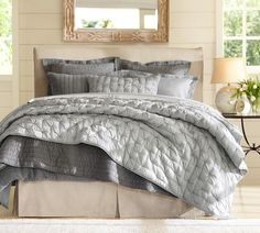 Silk Channel Two-Toned Quilt & Sham | Pottery Barn - Ordered the light gray quilt and shams today.  Don't know if I need the dark too.  Pairing it with a pink and cream.