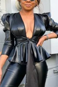 Fashion Sexy Solid Color Black Long Sleeve Jacket Chic Outfits, Fashion Outfits, Style Fashion, Pu Jacket, African Wear Dresses, Sleeve Styles, Long Sleeve, Sexy, Sleeves