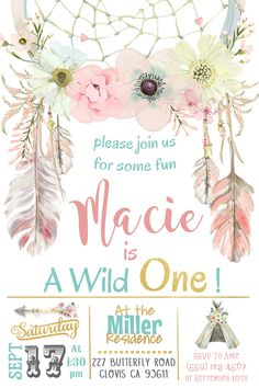 Tribal Princess Birthday Party Invitation Invite Dreamcatcher Watercolor Flowers Indian Arrow Teepee Camping Glamping Rustic Vintage Shabby Chic Pink and Gold Peach Mint Modern