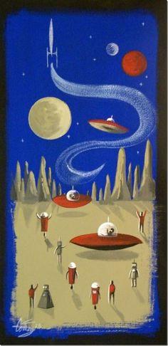 El Gato Gomez Mid Century Retro Space Ships Sci-Fi Rocket Painting!