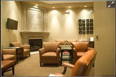 Relax in our waiting area and cozy up in front of our fireplace. Waiting Area, Dentistry, Office Ideas, Spa, Relax, Cozy, Desk Ideas, Dental