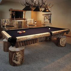 Love this country pool table! It& a hunters dream.- Love this country pool table! It& a hunters dream. Love this country pool table! It& a hunters dream. Country Man Cave, Country Pool, Rustic Man Cave, Country Style, Man Cave Furniture, Log Furniture, Garden Furniture, Bedroom Furniture, Outdoor Furniture