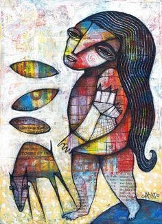 DAN CASADO outsider folk art BAREFOOT original collage painting on wood #OutsiderArt