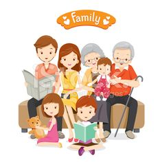 Happy Family Siting on Sofa and Floor royalty-free stock vector art Family Illustration, Character Illustration, Children Images, Children And Family, Happy Family Images, International Family Day, Family Clipart, Family Painting, Instagram Highlight Icons