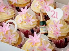 Adult Birthday Cupcake With Beautifully Designed Hearts And Butterflies Decorated Pink White Flowers