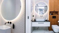 Das richtige Licht im Bad sorgt dafür, dass wir uns wohlfühlen. Ein gut durchdachtes Lichtkonzept ist wichtig. Wenn genügend Platz vorhanden ist, tut es gut, wohnliche Leuchten ins Bad zu integrieren. Das passende Licht lässt Ihr Bad geräumiger und größer wirken. Durch das Zusammenspiel aus Beleuchtung und Farben erscheinen Bäder in einem neuen und freundlicheren Licht, sodass sich der Wohlfühlfaktor erhöht und die Laune steigt. Bathroom Lighting, Mirror, Furniture, Home Decor, Home Technology, Lighting, Light Fixtures, Bathroom Light Fittings, Bathroom Vanity Lighting