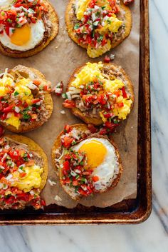 These breakfast tostadas are perfect for weekend brunch or weekday dinners Theyre fresh and filling but wont weigh you down. Vegetarian and gluten free. Recipe yields 8 breakfast tostadas enough for 4 hearty servings. Tostadas, Tacos, Happy Hour, Breakfast Desayunos, Breakfast Nachos, Breakfast Crockpot, Breakfast Potatoes, Breakfast Burritos, Breakfast Casserole