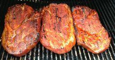 Apple Brined Pork Steaks pork steaks on grill Grilled Pork Steaks, Marinated Pork Chops, Ham Steaks, Grilled Pork Shoulder, Braised Pork Shoulder, Ham Steak Recipes, Grilling Recipes, Bbq Pork, Barbecue