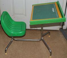 Vintage Playskool Desk Attached Seat Chalk Board Magnetic Alphabet Peg