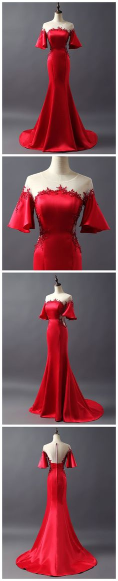 CHIC TRUMPET/MERMAID SCOOP RED SATIN APPLIQUE LONG PROM DRESS EVENING DRESS AM733 #amyprom #fashion #party #evening #chic #promdress #promdresslong #longpromdress #eveningdress #red #halfsleeve