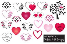 Valentine Hearts Clipart Graphics A collection of 19 vector heart icons in red, black, and pink.You will receive:1 editable EPS fi by Melissa Held Designs