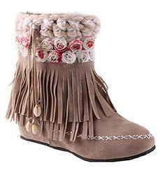 Women's Sweet Floral Waterproof Fringe Faux Fur Lined Pull On Mid Heighten Heel Platform Warm Winter Snow Boots