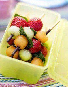 """fruits on skewers (top of skewer dipped in chocolate!)  Nice way to eat """"fruit salad""""!"""