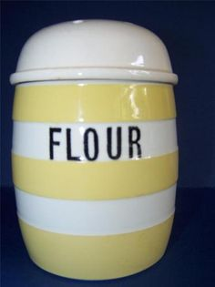 T. G. GREEN YELLOW CORNISHWARE FLOUR SHAKER VINTAGE SHIELD