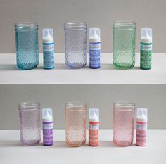 How to easily tint mason jars using Martha Stewart 'Liquid Fill' Glass Paint Maybe for tea lights instead of mason jars? Tint plain glass bowls, etc if I can't find teal and pink bowls for baby shower. Mason Jar Projects, Mason Jar Crafts, Mason Jar Diy, Bottle Crafts, Diy Projects, Tinting Mason Jars Diy, Tinted Mason Jars, Mason Jar Candles, Pink Mason Jars
