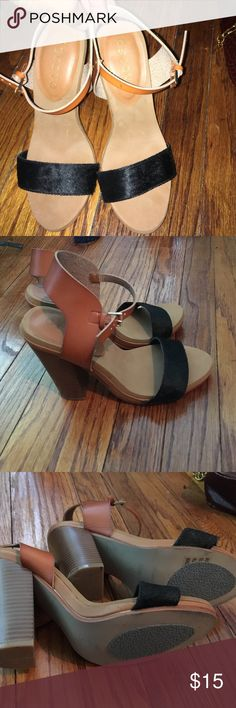 Groove Faux Hair Animal strapped heels! ❤️ Very cute stacked one strap heel, cushioned bed soles so feet are feeling great all through the night or day! Tan and black that make outfits look chic, and the faux hair gives it that extra wow factor! Groove Shoes Heels