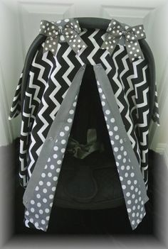 carseat canopy car seat cover black gray polka by JaydenandOlivia, $35.99