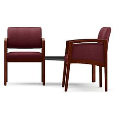 Two Fabric Panel-Arm Guest Chairs with Connecting Corner Table Set