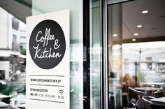Many people start their day with a hearty breakfast at Coffee & Kitchen, a little restaurant in Graz. It's a perfect place for business people who have their offices nearby.   You notice here that branding and architecture go hand in hand. Simple black and white colouring combined with natural brown cardboard match ideally with the interior design. The hand-written lettering and friendly illustrations create a casual bar atmosphere. It's young, fresh and consistent.