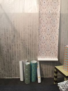 Audrey Sterk Wall Coverings—The Nantucket artist's sophisticated wallpapers include gold and silver faux wood and graphic patterns. Wallpapers are fully color customizable for your needs using the Pantone Color Matching System.