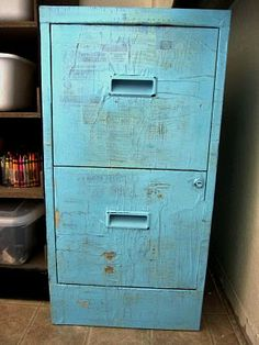 Metal file cabinet turned crafty