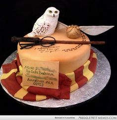 A Harry Potter themed cake for an 11 year old. Complete with her own owl and an acceptance letter to Hogwarts!