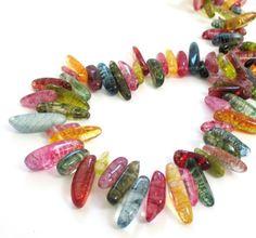 Multi Colored Quartz Beads Dyed Quartz Stick Beads by BijiBijoux