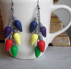 GUO GUO'S- Handmade Polymer Clay Christmas Lights Earrings, made to order. $18.00, via Etsy.
