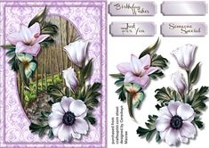 A lovely card with a Beautiful Winter bouquet in Lilac  has three greeting tags and  a blank one