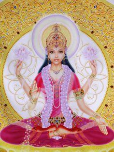 Picture of Lakshmi, Goddess of Wealth and Consort of Lord Vishnu, Sitting Holding Lotus Flowers, Ha