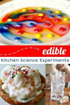 Is there anything better than doing kitchen science experiments you can eat? Make everything from ice cream to hard candy to a colorful Skittles rainbow and enjoy a sweet reward at the end. Don't pass up on these amazing kitchen experiments for kids in your classroom! #sciencekiddo #STEM #STEAM #scienceforkids #kidsscience #kitchenscience Candy Experiments, Cool Science Experiments, Food Science, Kitchen Science, Stem Science, Kid Experiments At Home, Science Centers, Science Party, Science Projects For Preschoolers