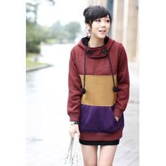 Street Style Hooded Color Block Splice Design Long Sleeve Slimming Cotton Blend Hoodie For Women