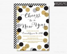 Confetti New Year's Eve Party Invitation Printable Digital Polka Dots New Years Invitation Black and Gold Glitter New Year Party