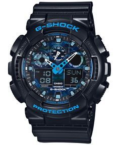 Alarms, stopwatches, countdowns. This multifunctional G-Shock watch has it all plus a detailed, in-depth dial. | Black resin bracelet | Rounded case, 55x51mm | Black dial with blue stick indices, two