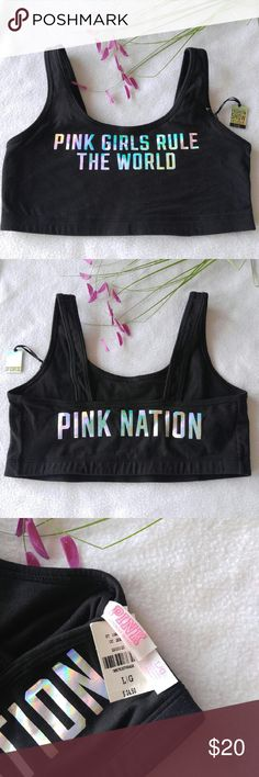 HP//VS PINK Fashion Show Sports Bra HP Fall Fashion Party  11/15/16  •Victoria' Secret PINK Fashion Show Sports Bra •NWT •Black with iridescent writing on the front and back  •Size Large •Price is firm on this item  •Please see all pics, read description, and ask questions before purchasing   •No Trades• •10% Off 2+ Bundle• Victoria's Secret Intimates & Sleepwear Bras