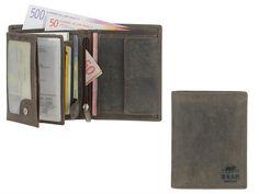 Bear Design DARK-NATURE - Leder RFID Geldbörse hoch Portemonnaie Geldbeutel - antikbraun