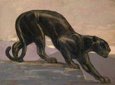 Paul Jouve (French, 1878-1973), Panthère noire descendant d'un rocher, c.1932. Oil on paper mounted on cardboard, 54 x 72 cm.
