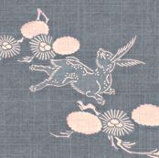 Woodland Hare - slate blue, pink by materialsgirl, Spoonflower digitally printed fabric