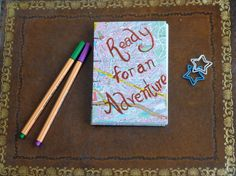 Adventure travel journal, A6 map cover hand bound blank notebook, Coptic stitch by TheCraftFantastic on Etsy